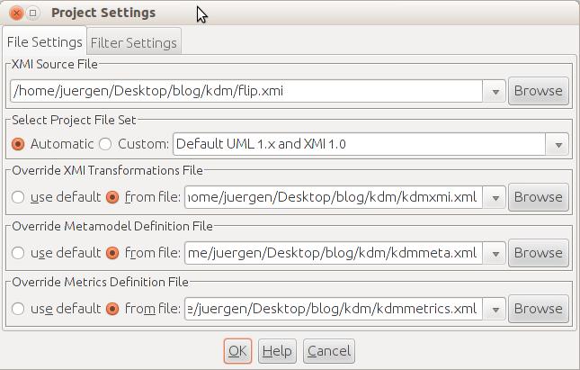 Project file settings dialog